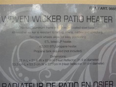 wicker patio heater costco woven wicker outdoor lp patio heater