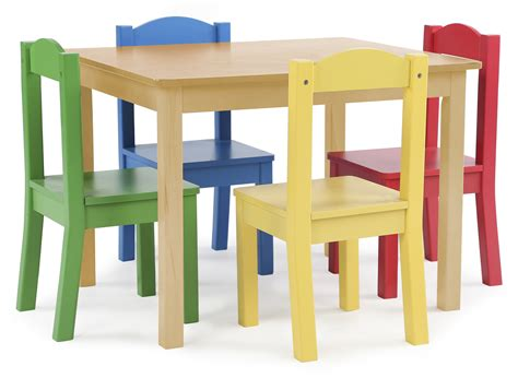 tot tutors kids wood table   chairs set natural