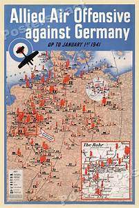 U201callied Air Offensive Against Germany U201d 1941 Vintage Style Ww2 War Poster 20x30
