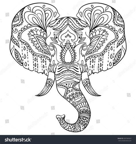 abstract elephant ornate isolated vector illustration