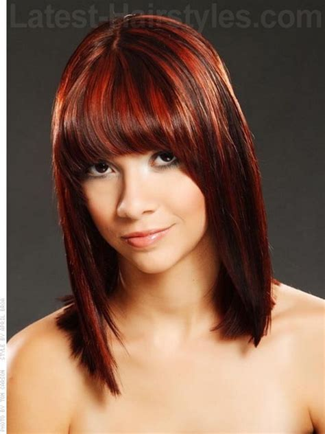 medium length hairstyles  fringe