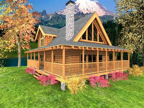 Log Cabin Floor Plans With Wrap Around Porch Open Floor