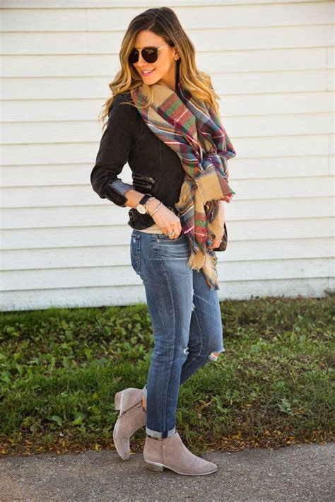 Sam edelman bootie and a blanket scarf! Gorgeous! | What to Wear | Pinterest | Follow me ...