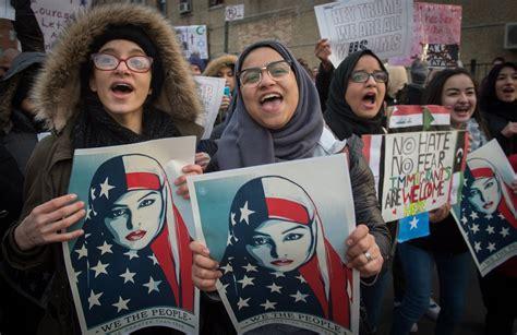 muslim arab muslims sharia law america hate ban trump michigan dearborn american americans middle east march positive views afp islamophobia