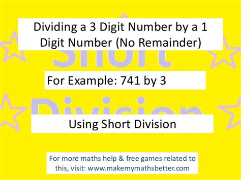 Short Division 3 Digit By 1 Digit (no Remainder