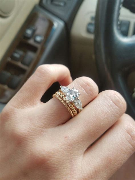 my yellow gold stacked wedding bands 3 oval and pear engagement ring the unique