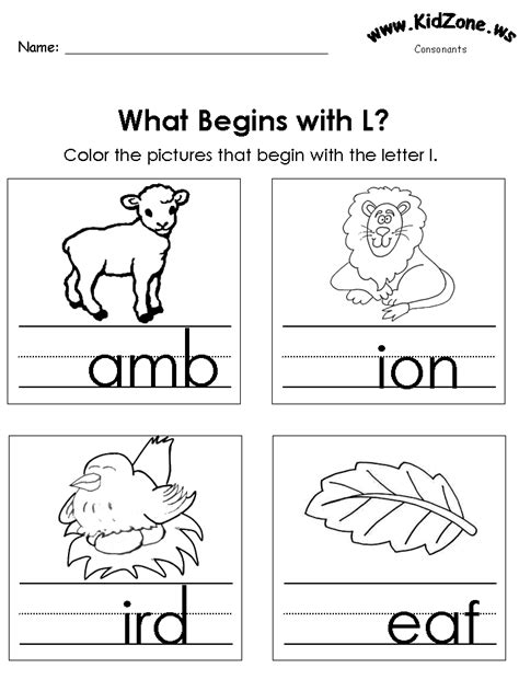color the pictures beginning letter sounds 976 | l as begins2