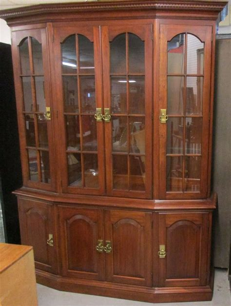 White Breakfront China Cabinet by Beautiful Pennsylvania House Lighted Cherry Breakfront
