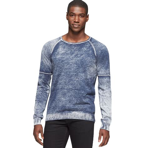 wash sweater calvin klein faded wash sweater in blue for