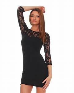 Eng Anliegende Kleider : damen mini kleid mit spitze tunika minikleid schwarz rot wei 36 38 40 42 44 ebay ~ Frokenaadalensverden.com Haus und Dekorationen