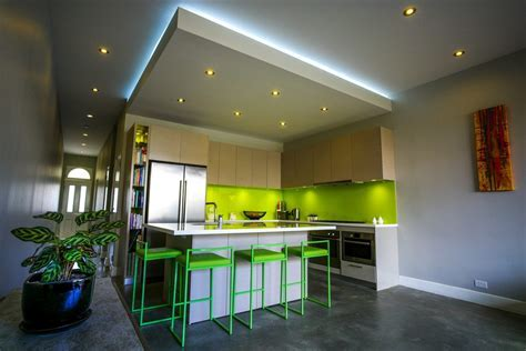 ceiling bulkhead kitchen contemporary with lime green bar