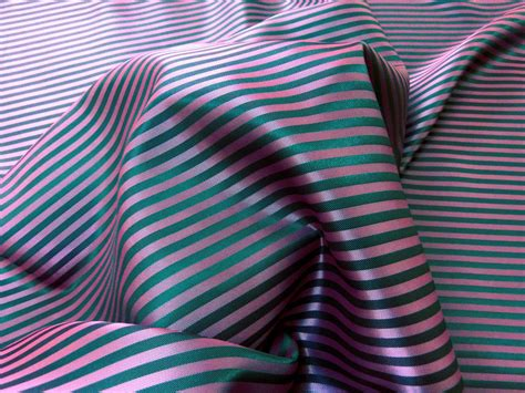 Pink & Grey Stripe Faux Silk Fabric