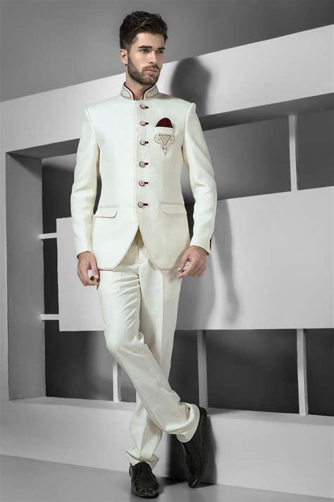 pearl white jute silk jodhpuri bandh gala adorable