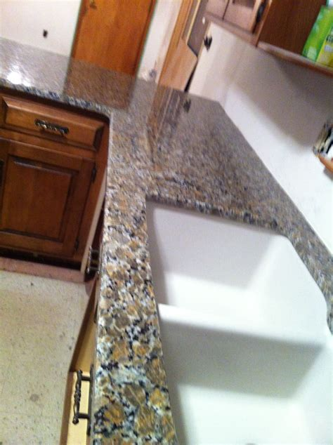 ferro gold granite countertop  granite composite sink