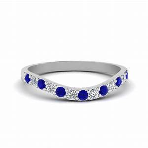 curved diamond wedding ring for women with blue sapphire With blue diamond wedding rings for women