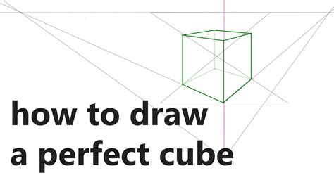 How To Draw A Perfect Cube In 2 Point Perspective Youtube