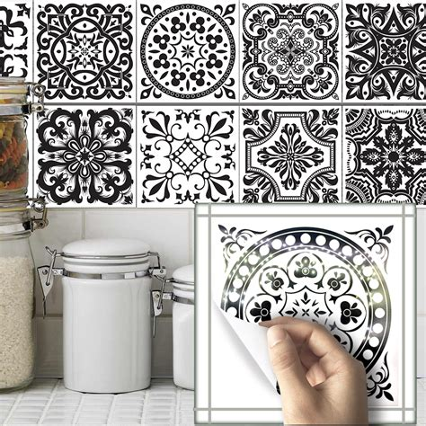stickers deco cuisine funlife10pcs sets bathroom wall black and white pattern