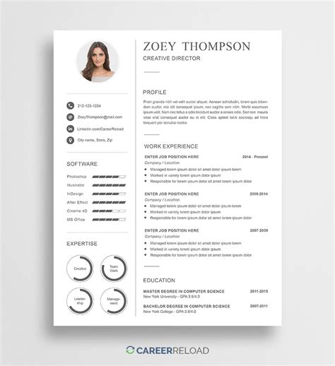photoshop resume templates   career