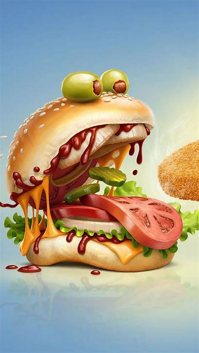 Burger Monster Cartoon Mobile Pizza Samwallpapers Wallpapers