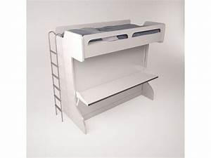 Castello, Twin, Over, Full, Wall, Bunk, Bed, With, Desk