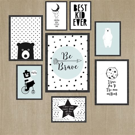 Wall Art For Kids Black And White Kids Room Wall Art