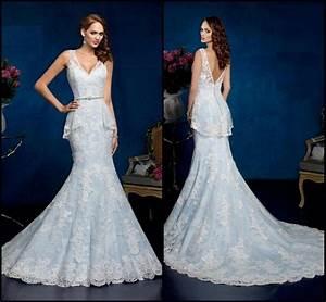 Gorgeous Blue Wedding Dresses Ice Cream V Neck Sleeveless ...