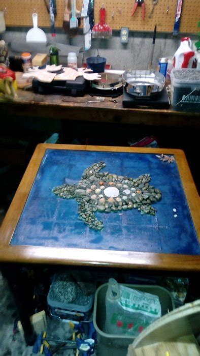 Repurposed kitchen table rock turtle in epoxy   by Daniel
