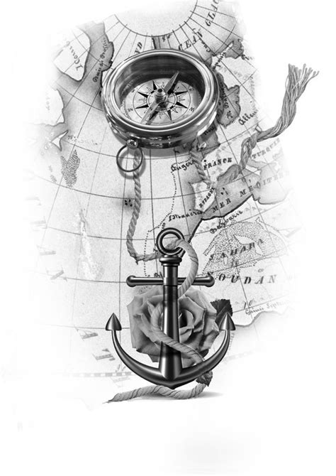 anchor with rope upon the map tattoo design - #Anchor #design #map #rope #Tattoo | gold | Map
