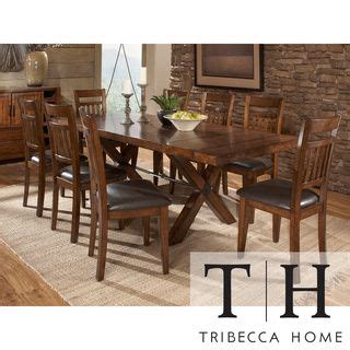 tribecca home dining set tribecca home inverness warm oak turnbuckle mission dining