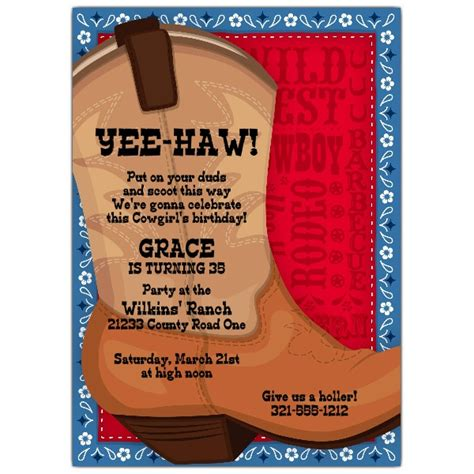 big brown boot western invitations paperstyle