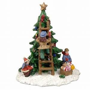 Personnage Pour Village De Noel : figurine enfant autour d 39 un sapin fille village de noel eminza ~ Melissatoandfro.com Idées de Décoration