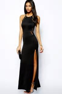 black maxi dress black lace splicing maxi evening dress importerat