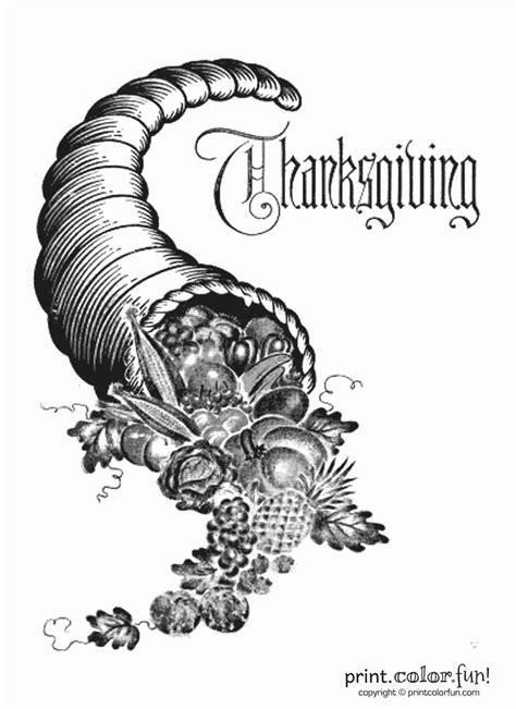 vintage thanksgiving cornucopia coloring page print color fun