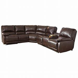 Ashley signature design hallettsville power reclining for Sectional sofa massage recliner