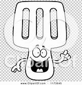 Mascot Spatula Idea Smart Outlined Coloring Clipart Cartoon Vector Cory Thoman sketch template