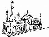 Mosque Coloring Masjid Drawing Pages Mewarnai Mosques Buildings Getdrawings Coloriage Coloringpages101 Cours Enfants Pour Album sketch template