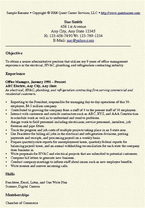 Office Manager Resume Template by Office Manager Resume Exle Free Professional Document