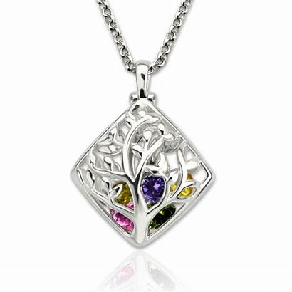 Birthstone Tree Necklace Cage Platinum Rhombus Plated