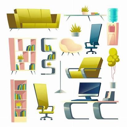 Cartoon Interior Futuristic Apartment Modern Living Furniture