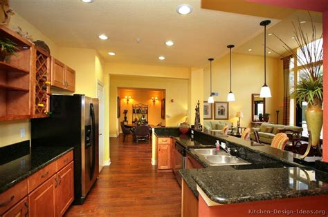 pictures  kitchens traditional medium wood cabinets