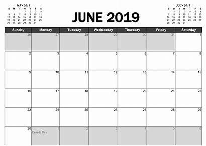 Calendar June Canada Holidays Printable