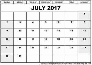 July 2017 Calendar Template