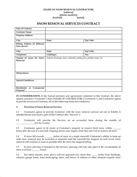 Snow Removal Contract Template Free by Blank Contract Template Free Contract Templates
