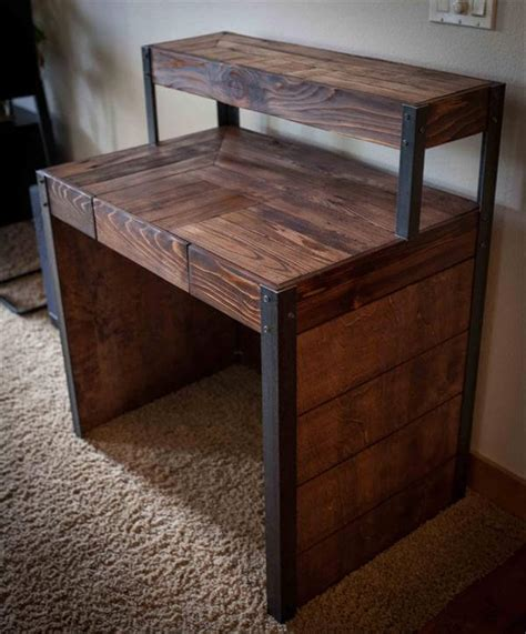 Diy Recycled Wood Pallet Desk  101 Pallets. Sink Table. Sheesham Wood Dining Table. Computer Desk Oak. Two Drawer Console Table. Exercise Equipment For Under Desk. Desks For Apartments. Desk Pc Case. Table Cabinet