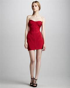 lyst herve leger strapless bandage dress in red With herve leger robe bandage
