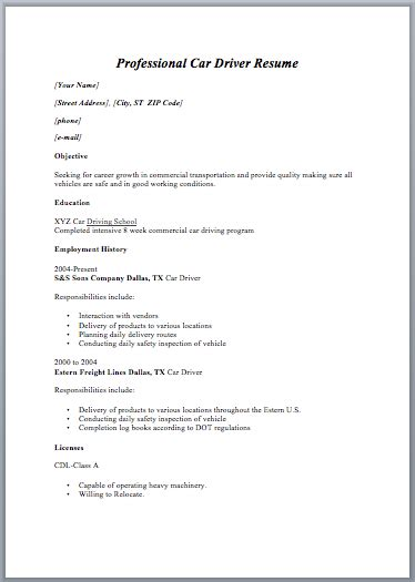 28 driver resume format in word delivery driver cv