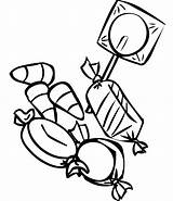 Candy Coloring Printable Pages Clipart Cane sketch template