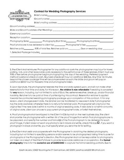wedding photography contract templates