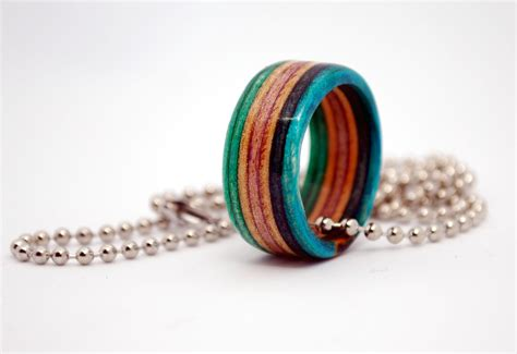 skateboard ring made from recycled skateboards wooden wedding rings