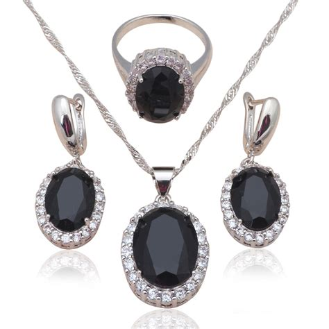 black zirconia inlay silver sted cool fashion jewelry for black onyx necklace